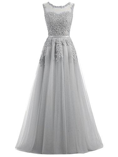 Ever Love A-Linie Lang Spitze T¨¹ll R¨¹ckenfrei Abendkleid Ballkleid Hochzeit Brautjungfernkleid mit Träger-Farbe: Grau, Gr. 36