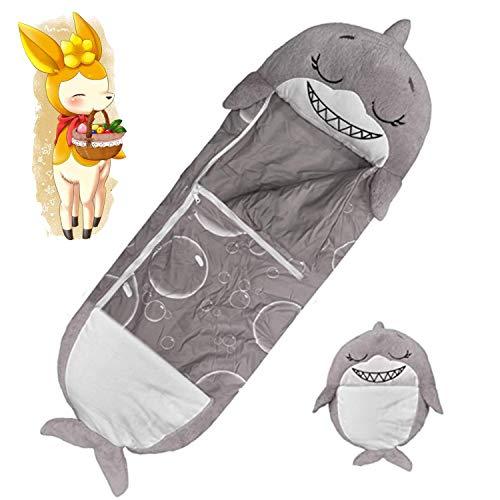 LUOWAN Schlafsäcke für Kinder Tierschlafsack, 2 in 1 lustige Kissen umgewandelt in Schlafsäcke, große Größe geeignet für Kinder unter 6 Jahren (Hai, 137 x 50 cm)