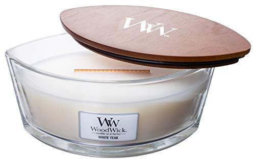 Wood.Wick WW White Teak Duftkerze Ellipse Glas mit Original HearthWick Flamme, groß, 17,8 cm, 473 ml