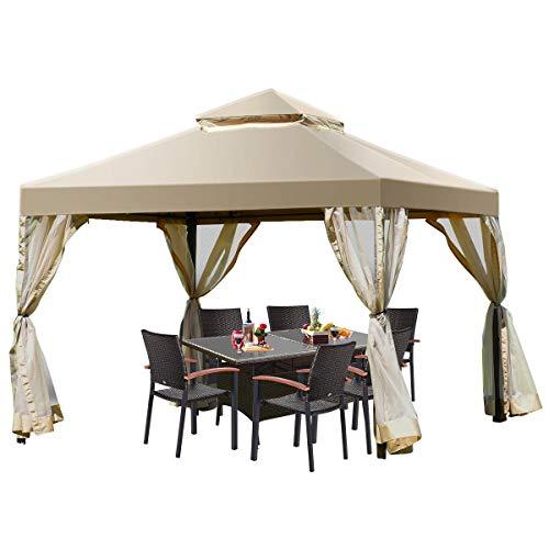 Tangkula 2-Tier 10x10Feet Patio Gazebo, Outdoor Patio Fully Enclosed Gazebo Canopy Tent w/ Netting, Outdoor Gazebo Canopy Shelter for Backyard, Garden, Deck