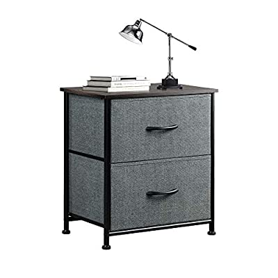WLIVE Nightstand with 2 Fabric Drawers?Bedside Furniture & End Table Dresser for Bedroom, Living Room, Steel Frame, Wood Top, Easy Pull Handle