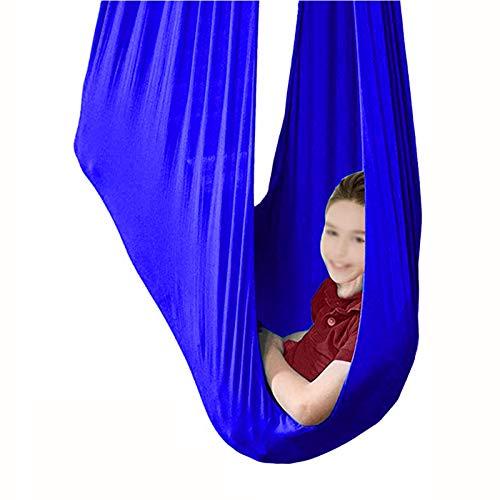 Sensory Swing Hammock Kids Sensory Swing For Teens Adjustable Cuddle Hammock Aerial Yoga Hammocks Children Autism ADHD And Aspergers 200kg Load Capacity ( Color : Blue , Size : 150*280CM/59*110in )