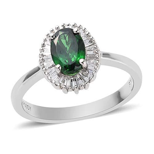 TJC AAAA Tsavorite Garnet Platinum Halo Ring for Women White Diamond, 1.165 Ct Size R