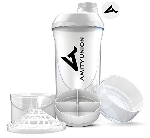Eiweiß Shaker 700 ml mit 2 Tabletten und Pulver Fächer - Lady Protein Shaker, BPA frei mit Sieb und Skala für Whey und BCCA Shakes, Gym Fitness Becher für Isolate und Diät Sport Konzentrate - Weiß Cup