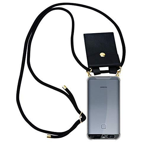 Cadorabo Handy Kette für Huawei P9 in SCHWARZ – Silikon Necklace Umhänge Hülle mit Gold Ringen, Kordel Band Schnur und abnehmbarem Etui – Schutzhülle