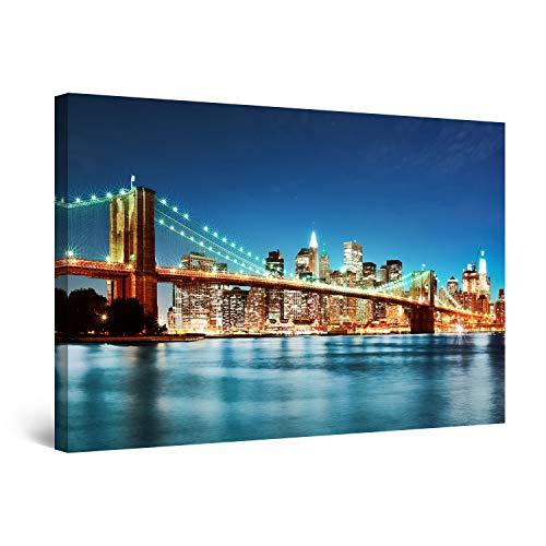 Startonight Cuadro Moderno en Lienzo - Puente de Brooklyn Nueva York Azul - Pintura Urbana para Salon Decoración Grande 80 x 120 cm