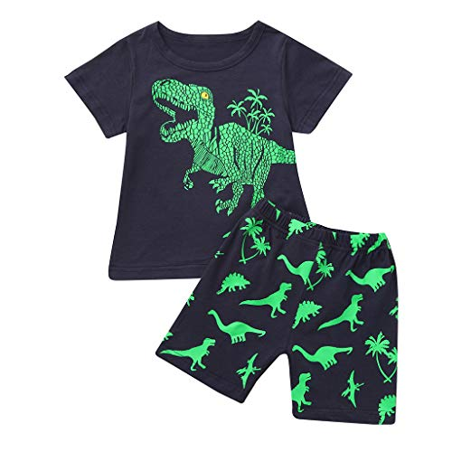 JUTOO 2 Stücke Set Sommer Kleinkind Baby Kinder Jungen Dinosaurier Lässige Nachtwäsche Tops + Hosen Outfits Set (Schwarz,6Y)