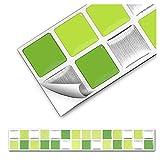 Grandora 7er Set 25,3 x 3,7 cm adhesivo azulejos verde claro plata mosaico I 3D autoadhesivo decoración cocina baño vinilos decorativos papel aluminio W5290