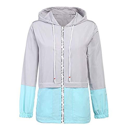 MRULIC Regenmäntel für Damen wasserdichte Packable Windjacke Leichte Active Outdoor Regenjacke mit Kapuze Sweatshirt S-XXL(2-Blau,XL)