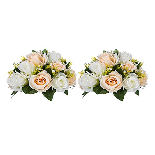 Pcs of 2 Fake Flower Ball Arrangement Bouquet,15 Heads Plastic Roses with Base, Suitable for Our Store's Wedding Centerpiece Flower Rack for Parties Valentine's Day Home Décor (Champagne & White)