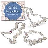 Ann Clark Cookie Cutters 恐竜 クッキー型3個セット(Tレックス、ブロンドサウルス、トリケラトプス)、レシピ小冊子付き