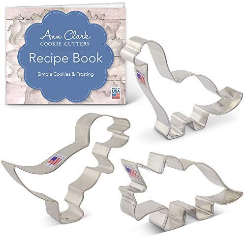 Ann Clark Cookie Cutters Juego de 3 cortadores de galletas dinosaurio con libro de recetas, tiranosaurio, brontosaurio y triceratops