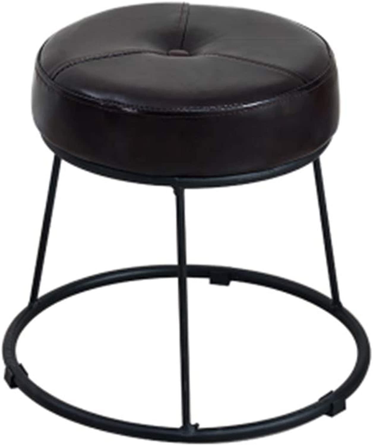WY Iron Stool, Dining Table Stool Sofa Stool Small Round Stool Modern PU Low Stool Bench Furniture (color   Black, Size   S)