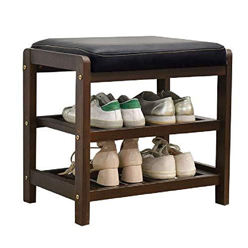 JIADUOBAO Asiento de banco de 3 niveles para cambiar de zapatos, pasillo entrada de madera, estante organizador de almacenamiento con cojín (tamaño: 50 × 33,5 × 48 cm) (color: marrón)