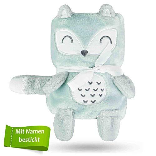 Babykajo Babydecke mit Namen bestickt – 2in1 Kuscheldecke wird zusammengerollt zum Kuscheltier – Perfektes Baby Geschenk zur Geburt für Jungen und Mädchen! Babydecke personalisiert.