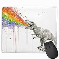 マウスパッドカスタマイズされた水彩恐竜スプレーレインボーレクタングルマウスパッドノンスリップラバーゲームマウスパッド作業用オフィスラップトップコンピューター&PC 11.8 X 9.8インチ