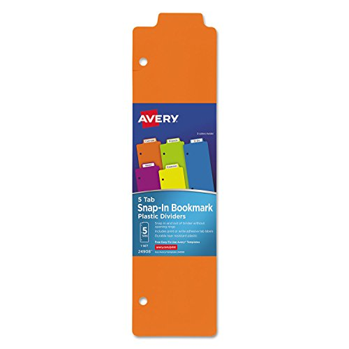 Avery 24908 Tabbed Snap-in Bookmark Plastic Dividers Assorted Solid Color 5-Tab 3x11 1/2