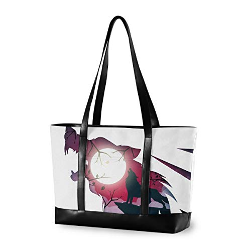 Wolf Raven Laptop Bag for Women 15.6 Inch Canvas Large Laptop Tote Bag Work School Business Computer Bag for Laptop