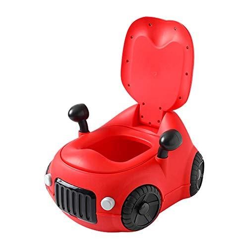 JIEER-C Ergonomische stoelpannen, babypan, kinderpan, van verwijderbaar, Easy Clean Comfortable, beschermt de rug, antislip, onderhoudsvriendelijk, leuke autovorm voor de potchentra rood