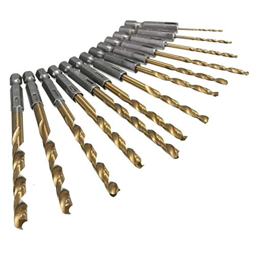 MOUNTAIN MEN 13pcs / Set HSS Acero de Alta Velocidad de bits Fresa Espiral de Metal Recubierto de Titanio Cuarto vástago Hexagonal 1.5-6.5mm Herramientas manuales Accesorios