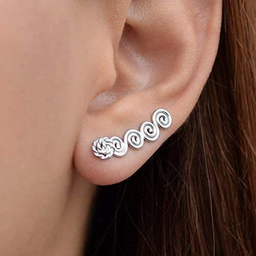 Griechischen Stil Spirale Ohr Kletterer Ohrringe aus Sterling silber, handgemachte griechische Schmuck von Emmanuela, ungewöhnliche Ohrringe, kleine Ohr Stulpeohrringe earcuff ear cuff