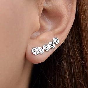 Griechischen Stil Spirale Ohr Kletterer Ohrringe aus Sterling silber, handgemachte griechische Schmuck von Emmanuela…