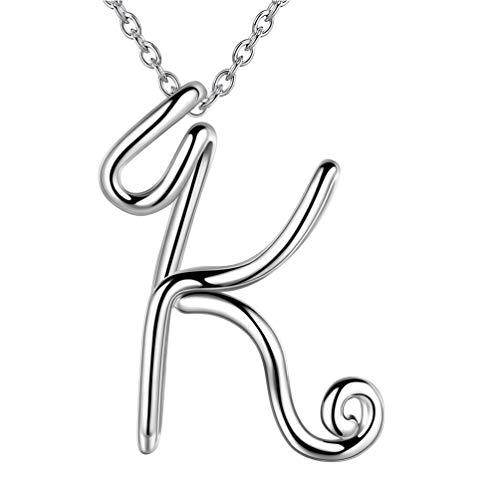 Besilver Capital Music Note Initial Letter K Necklace Charm 925 Sterling Silver Cursive Alphabet Pendant Women Men Unisex Monogram Name Bridesmaid Birthday Gift FP0024K