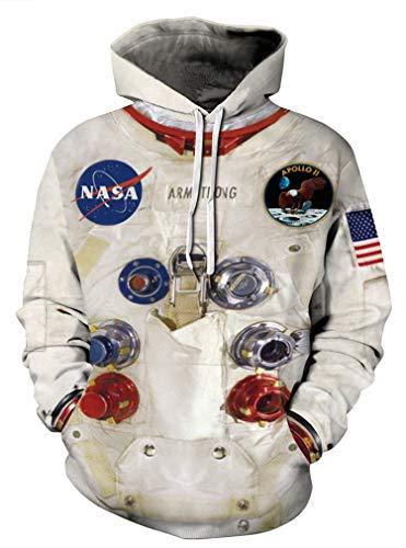 AMOMA Unisex Galaxis Raumfahrer Anime 3D Digitaldruck Hoodie Freizeit Kapuzenpullover Sweatshirt Mit Taschen S-5XL(S,66Spaceman)