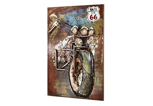 Kobolo Wandbild Wanddekoration Metallbild 3D-Bild - Route66 Motorrad - 72x108 cm