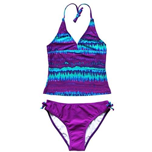 iiniim Big Girls Two Piece Halter Tankini Swimsuit Tank Top with Boyshort Sets Summer Beach Bikini Bathing Suit
