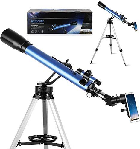 Telescopio astronómico TELMU – GS70060 Telescopio Refractor con 2 Oculares (K6 mm/K25 mm) y 5 × 24 Mirino, trípode ajustable (70 – 118 cm) para observar los Crateri Lunari, regalo