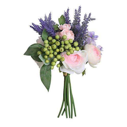 Hunpta@ Künstliche Blumen Rose Hortensie Hochzeitsdeko Blumenstrauß Kunstblumen Blumenarrangement für Haus Büro Balkon Garten Hochzeit Party Valentinstag Dekoration