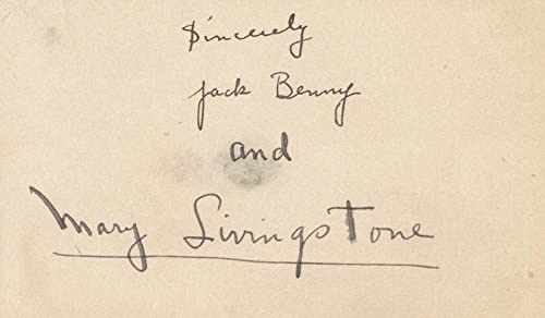 Jack Benny - Signature co-signed Wholesale Today's only Mrs. Mary by: Livi