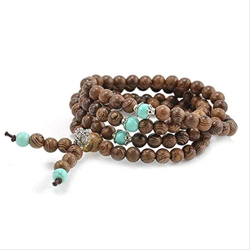 HYJMJJ Pulsera Feng Shui Bead 108 Sandalia Buddhist Buda MEDITACIÓN RECHAJA DE Pulsera DE Pulsera DE Mala Pulsera de Abalorios de Amuleto