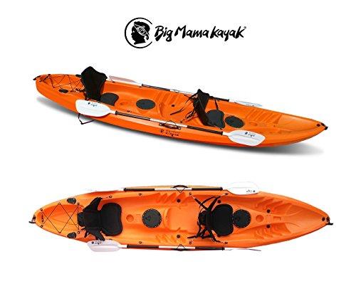 Big Mama Kayak Tango Canoa da 370 CM con 2 + 1 POSTI + 2 PAGAIE + 2 GAVONI + 2 SEGGIOLINI (Full Pack) (Arancione)