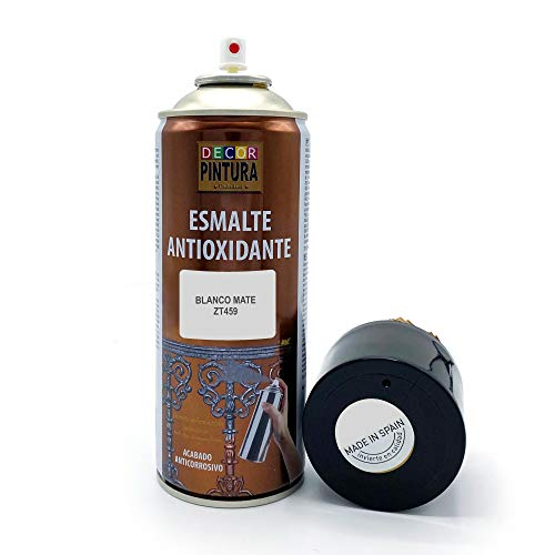 Pintura Spray Blanco Mate 400ml ANTIOXIDANTE para metal / anti oxido para metales, hierro, aluminio, acero / Para exteriores - interior aplicación sin imprimacion