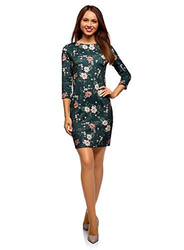 oodji Ultra Damen Enges Kleid mit Reißverschluss, Grün, DE 34 / EU 36 / XS
