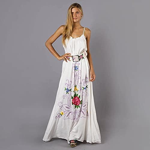 MLKJSYBA Vestido de Verano para Mujer Flor Bordado Maxi Dress Sexy Hollow Back Strǎp Strǎp Vestidos Casual Boho Long Beach Vestido Ropa De Mujer Vestido de Coctel de Mujer (Color : C, Size : L)