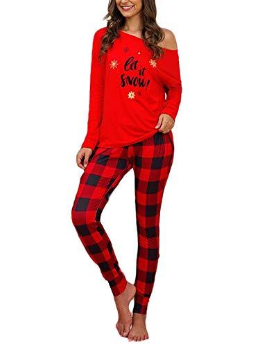 Women's Pajamas Set Long Sleeve Sleepwear Comfy Cotton Nightwear Pjs Sets S-XL for Christmas (Red , L )