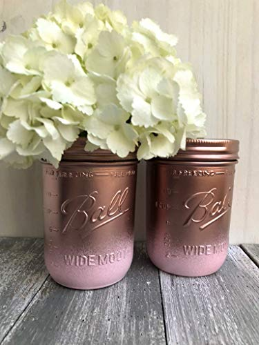 Metallic Rose Gold and Pink Painted Wide Mouth Mason Jars