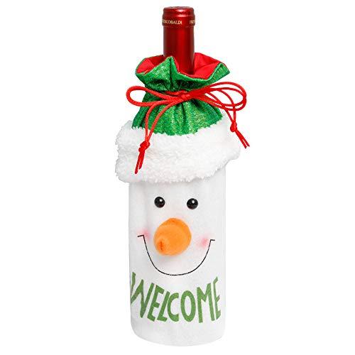 Nanssigy Weihnachtspuppe Rotweinflasche Set Santa Claus Champagner Flaschenverschluss Weihnachten Weihnachtsmann Schneemann Rentier Puppe Party Weinflasche Dekoration