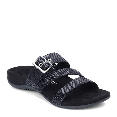 Vionic Women's Rest Skylar Slide Sandal- Adjustable Walking Sandals with Concealed Orthotic Arch Support Black 10 W US