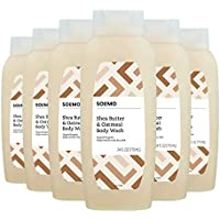 6-Pack Amazon Brand Solimo Shea Butter and Oatmeal Body Wash