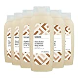Amazon Brand - Solimo Shea Butter and Oatmeal Body Wash, 24 Fluid Ounce (Pack of 6)