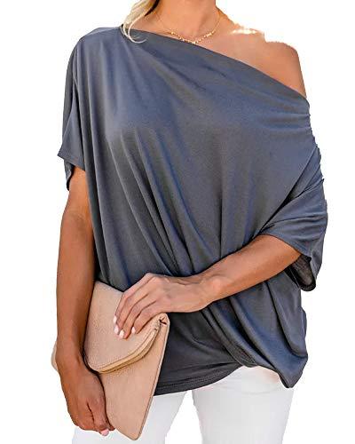 LNX Blusa de manga corta para mujer, de gran tamaño, con hombros descubiertos, con nudo torcido y alas de murciélago.