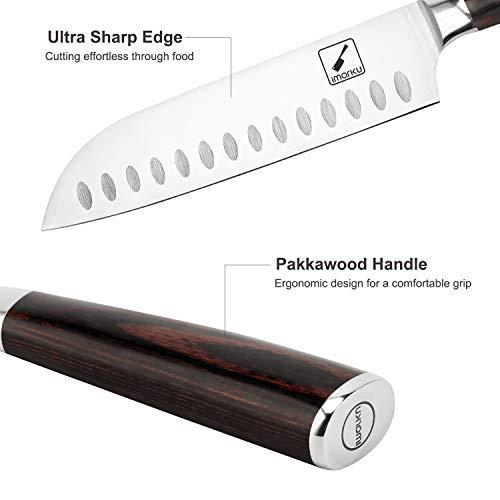Santoku Knife - imarku 7 inch Kitchen Knife Ultra Sharp Asian Knife Japanese Chef Knife - German HC Stainless Steel 7Cr17Mov - Ergonomic Pakkawood Handle, Best Choice for Home Kitchen and Restaurant