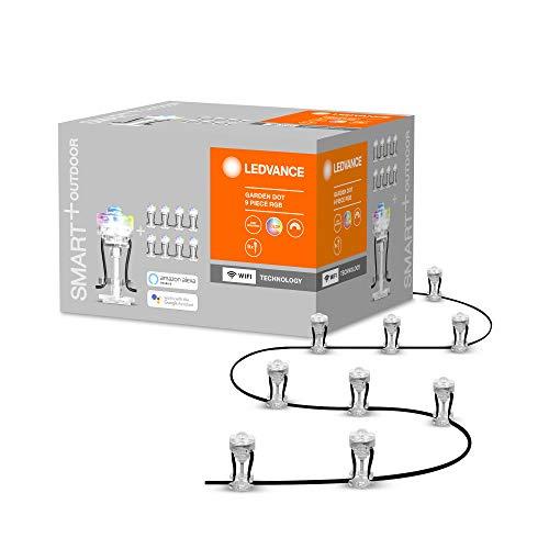 LEDVANCE Smarte LED Gartenleuchte mit WiFi Technologie, Basispaket mit 9 LED Dots für Außen, RGB-Farben änderbar, Kompatibel mit Google und Alexa Voice Control, SMART+ WIFI GARDEN DOT 9P