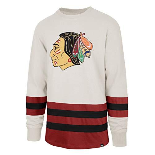 47 Brand NHL Chicago Blackhawks Center Ice Crew Eishockey Sweater Lacer Jersey Trikot Vintage (M)