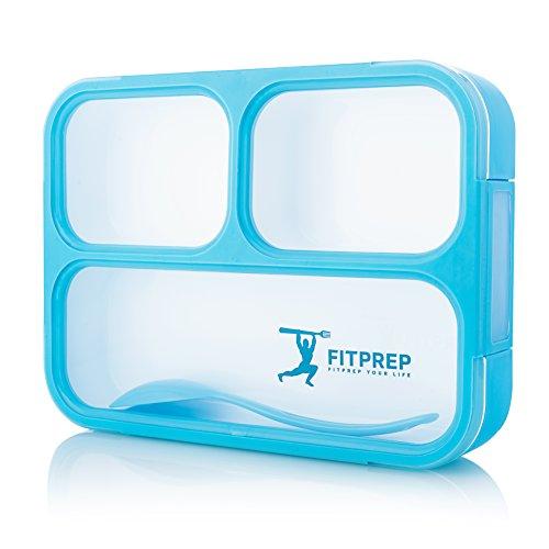 FITPREP Lunchbox Meal Prep Bento Box 3 Fächer Dicht - Jede Kammer untereinander Spülmaschinengeeignet (Ohne Deckel) BPA Frei inkl Ebook