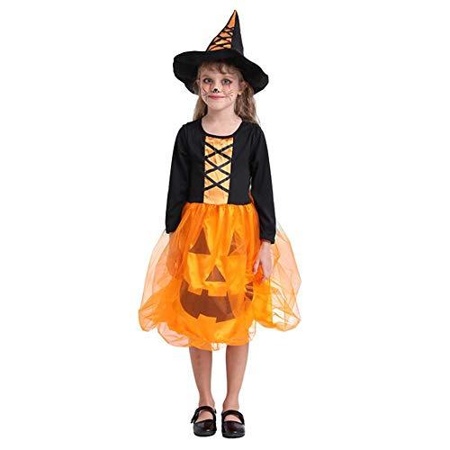 Oneforus Cool Ropa Infantil de Halloween, Nias Infantiles, Vestido de Calabaza, Disfraz de Fiesta, Disfraz de Actriz, Sombrero Incluido